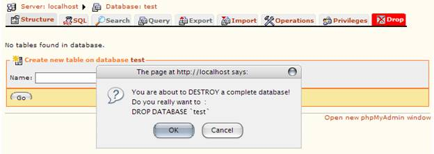 Figure 3: Destroying a database