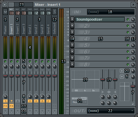 FL Studio Mixer Interface