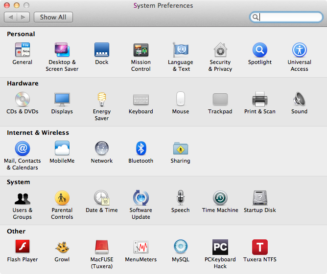 OS X System Preferences