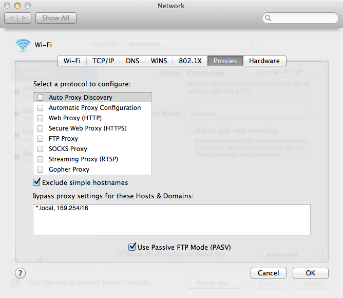 Network Proxy Settings in OS X