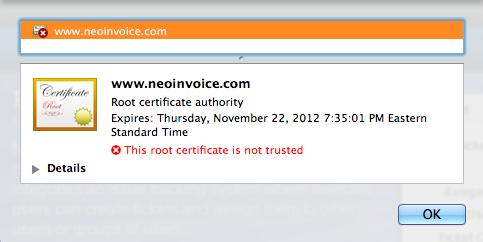 Chrome Root Certificate Not Trusted