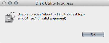 Unable to scan ISO file. (Invalid argument)