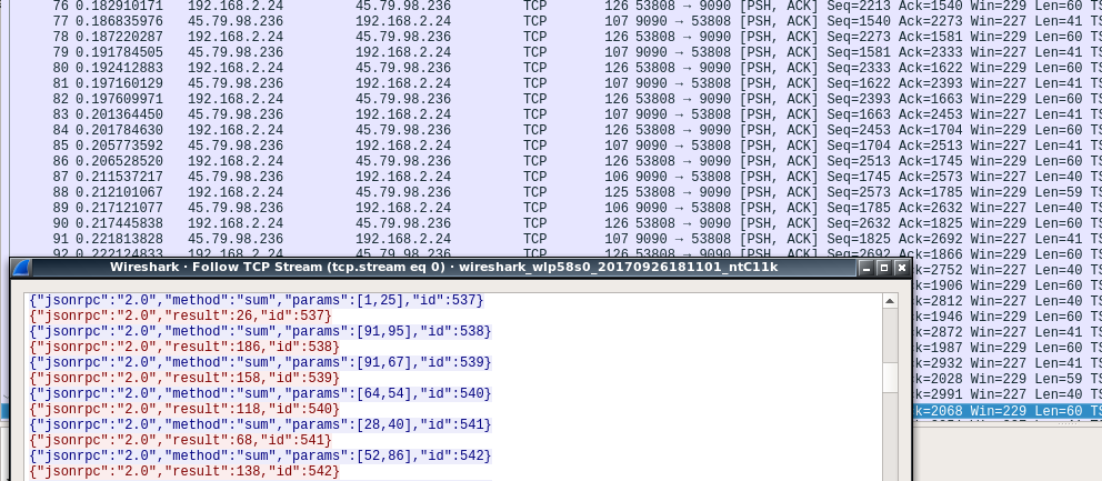 Wireshark Capture of TCP/JSON Traffic